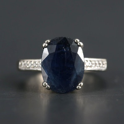 14K White Gold Sapphire Ring with Diamond Accented Shoulders