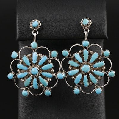 Violet and Jeffrey Begay Navajo Diné Sterling Silver Turquoise Earrings