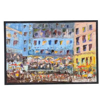 "Farshad Lanjani Impasto Landscape Oil Painting ""The Festival,"" 2010"