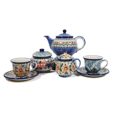 Boleslawiec Polish Pottery Tea Service For Two