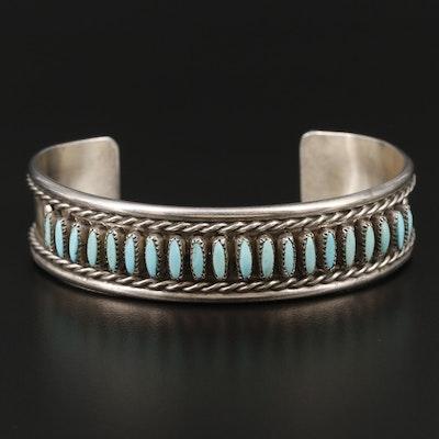 Bernall Natewa Zuni Sterling Silver Turquoise Cuff Bracelet