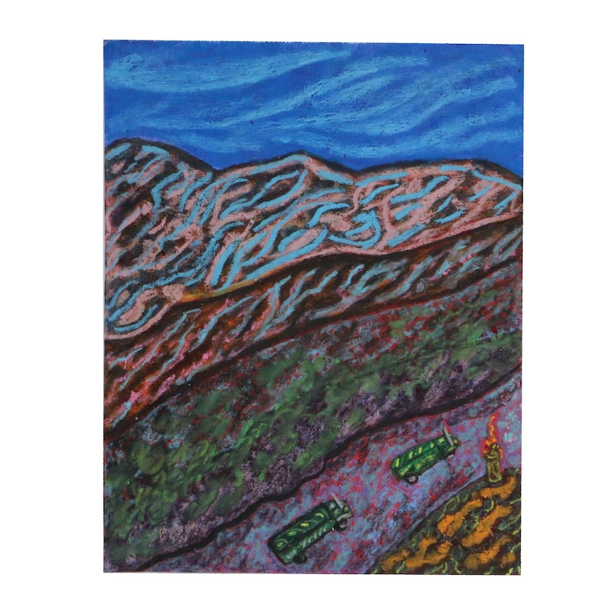 """Anthony Joseph Salvatore Abstract Oil Pastel Drawing """"Chapter 23"""""""