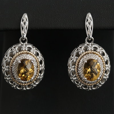 Sterling Silver Citrine and Diamond Earrings with 14K Yellow Gold