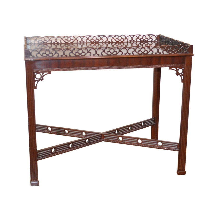 """Councill """"Townsend"""" Mahogany Fretwork Gallery Tea Table, Late 20th Century"""