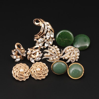 Cultured Pearl, Serpentine and Glass Earrings and Crown Trifari Brooch