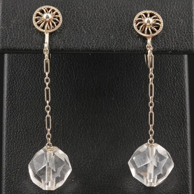 Vintage 14K White Gold Rock Quartz Crystal Dangle Earrings
