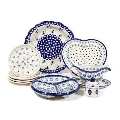 Boleslawiec Polish Pottery Low Serving Bowl, Divided Bowl and More
