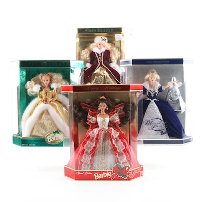 Happy Holiday and a Millennium Edition Barbies with Boxes