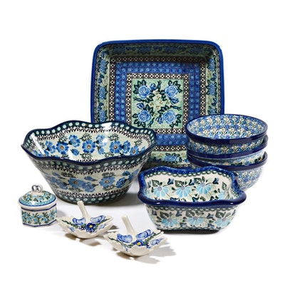 Boleslawiec Polish Pottery Blue and Green Floral Square Baker, Bowls and More
