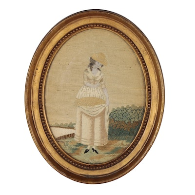 Georgian Era Silk Picture Needlework, Late 18th Century