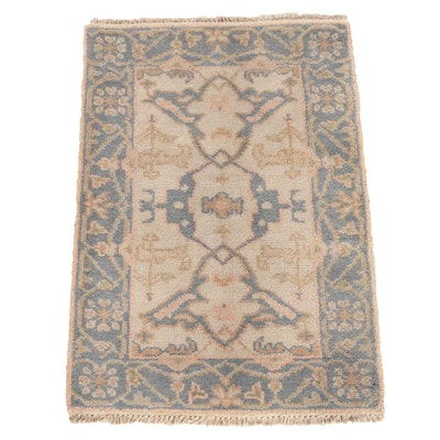 2'1 x 3'1 Hand-Knotted Indian Turkish Oushak Wool Rug