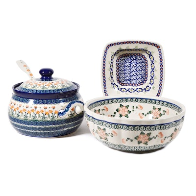 Boleslawiec Polish Pottery Tureen and Serving Bowls