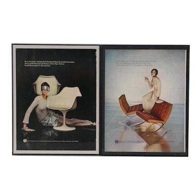 Knoll Mid-Century Modern Furniture Advertisements Including Eero Saarinen