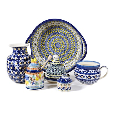 Boleslawiec Polish Pottery Handled Serving Bowl/Tray, Vase and More