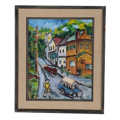 Oil Painting of Suburban Street Scene, Mid 20th Century