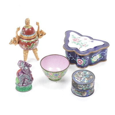 Decorative Chinoiserie Enamel and Cloisonné Boxes and Trinkets
