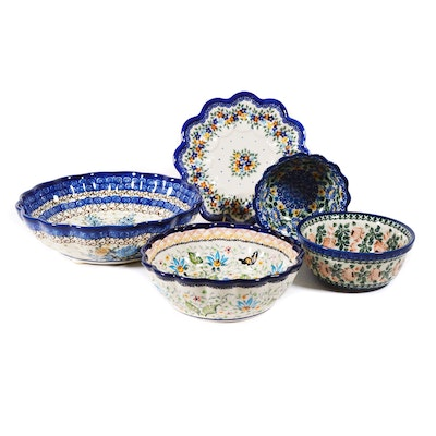 Boleslawiec Polish Pottery Fluted Edge Floral Serving Bowls and More