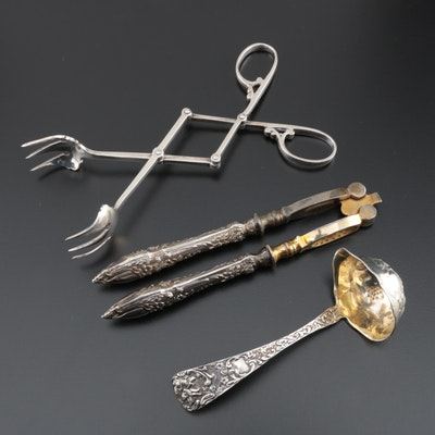 Sterling Silver Ladle and Tongs with Silver Plate Nutcracker, Early/Mid 20th C.
