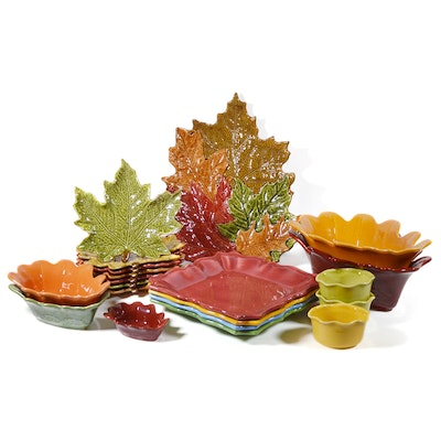 Chris Madden Porcelain Leaf Plates and Platter and Other Dinnerware