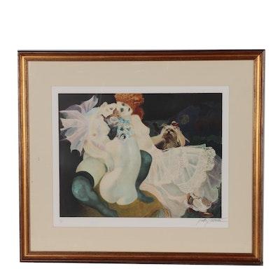 """Emilia Castaneda Color Lithograph """"Pierrette et Colombine"""""""