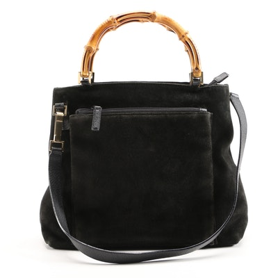 Gucci Suede and Leather Bamboo Handled Convertible Handbag in Nero
