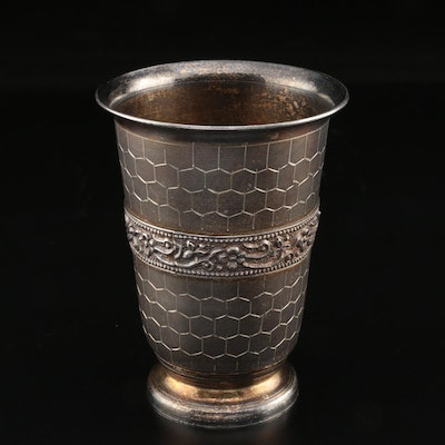 800 Silver Cup with Hexagonal Motif and Floral Band, Late 19th Century