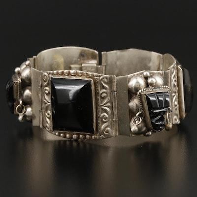 Taxco Mexico Sterling Silver Carved Obsidian Bracelet