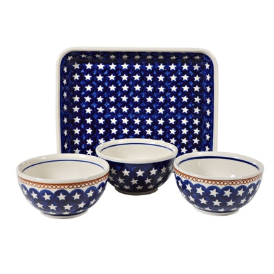 Boleslawiec Polish Pottery Stars Rectangular Baker and Bowls