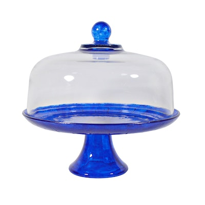 Cobalt Glass Pedestal Cake Plate and Clear Glass Dome