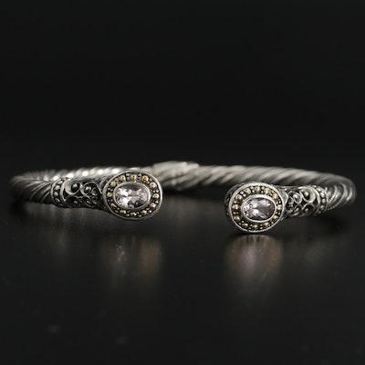 "Robert Manse ""Bali Designs"" Sterling Morganite Cuff Bracelet with 18K Accents"