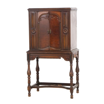 Jacobean Revival Style Mahogany Majestic Radio Cabinet, Early 20th Century