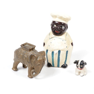 "Hubley Dog, A.C. Williams Cast Iron Elephant and ""Cookie"" Character Bank"