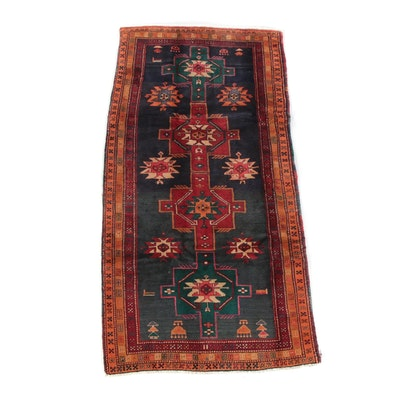 4'7 x 9'3 Hand-Knotted Persian Hamadan Wool Area Rug