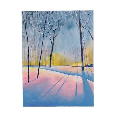 "J.C. Hall Acrylic Painting ""Winter Shadows"""