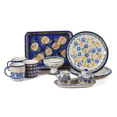 Boleslawiec Polish Pottery Rectangular Floral Baker/Tray and Other Dinnerware