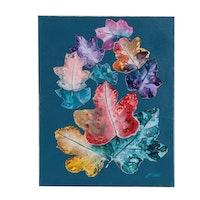 "J.C. Hall Acrylic Painting ""Colorful Oaks"""