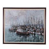 "J.C. Hall Lineillist Acrylic Painting ""Block Island Misty"""