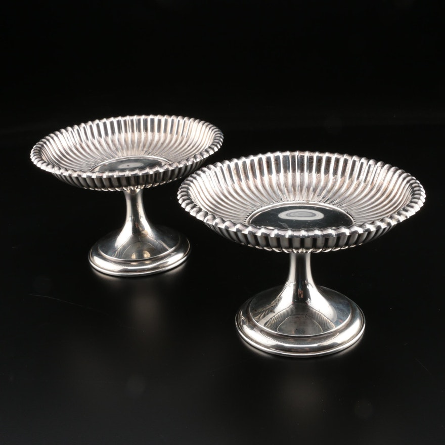 """Gorham """"Leamington"""" Weighted Sterling Silver Compotes, Early/Mid 20th Century"""