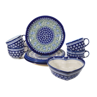 Boleslawiec Polish Pottery Heart-Shaped Baker, Floral Plates and Swirl Mugs