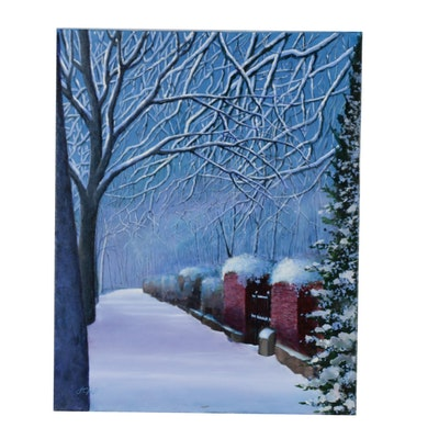 "J.C. Hall Acrylic Painting ""Untouched Winter"""