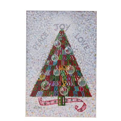 "J.C. Hall Holiday Acrylic Painting ""Peace, Love, Joy"""