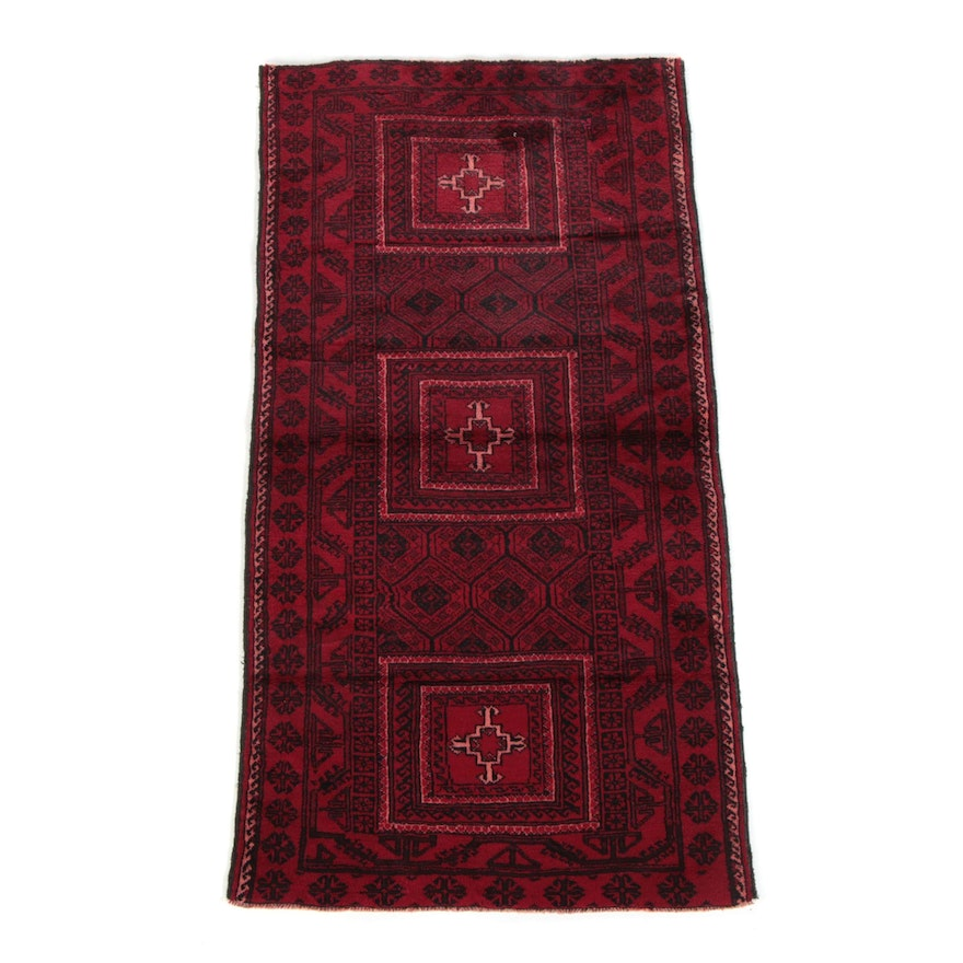 3'8 x 7' Hand-Knotted Afghan Baluch Wool Area Rug