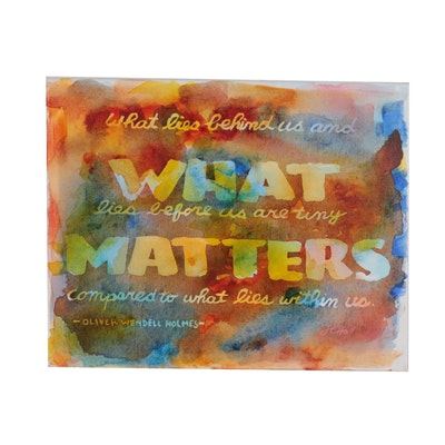 "J.C. Hall Typographic Acrylic Painting ""What Lies Behind"""