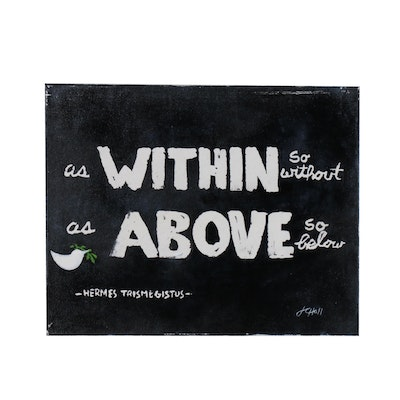 "J.C. Hall Typographic Acrylic Painting ""As Within"""