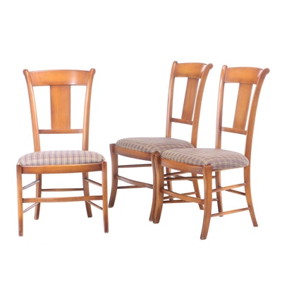 Three Italian Provincial Style Beech Side Chairs, 21st Century