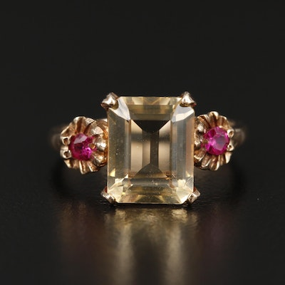 Vintage 10K Yellow Gold Citrine and Ruby Ring