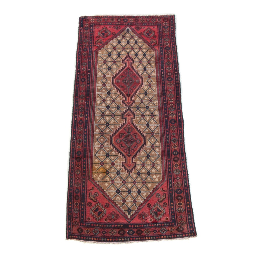3'9 x 8'5 Hand-Knotted Persian Hamadan Wool Area Rug