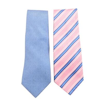 Hermès Light Blue and Tiffany & Co. Light Pink Striped Silk Neckties