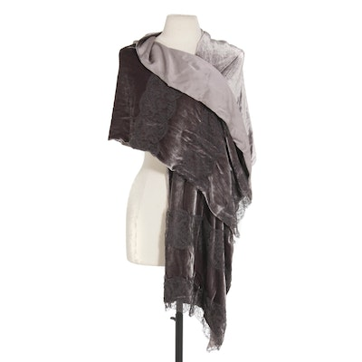 Worth Rayon and Silk Blend Shawl/Wrap with Lace in Grey