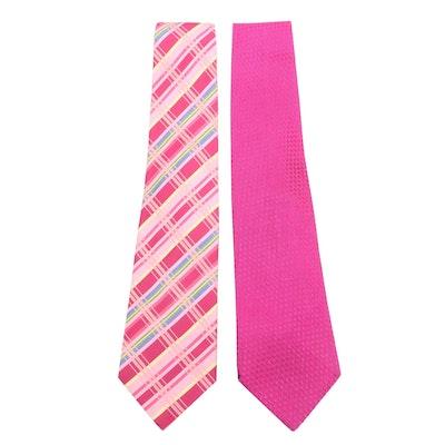 Hermès Pink Plaid and Gucci Magenta Silk Neckties